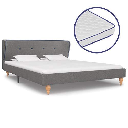 Festnight Bed met traagschuim matras ledikantvoet voor volwassenen Kinderen stof lichtgrijs 140x200 cm