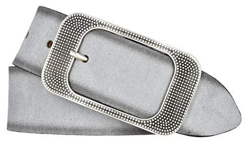 Bernd Götz Damen Leder Gürtel 40 mm Veloursleder kürzbar Damengürtel Ledergürtel (110, Hellgrau)