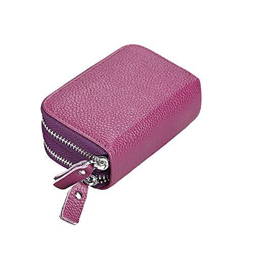 Mengshen Carteiras De Bloqueio RFID Para Mulheres, Titular De Cartão De Crédito Com Zíper Duplo Super Large Capacity - Roxa