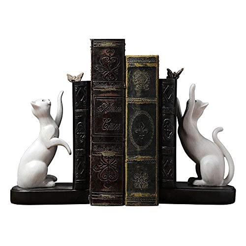HBBOOI Carpeta de Libros Sujetalibros Decorativos, Sujetalibros Lindos para Gatos-Sujetalibros Decorativos para estantes-Organice Libros Pesados-Extremos de Libros de Metal para Amantes de los Gatos