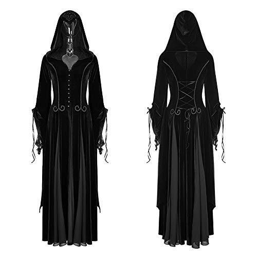 Punk Rave Women Fashion Gothic Witch Vampire Hooded Dresses Steampunk Cosplay Dress Velvet Hoodie Goddess Long Dresses (XL-2XL) Black