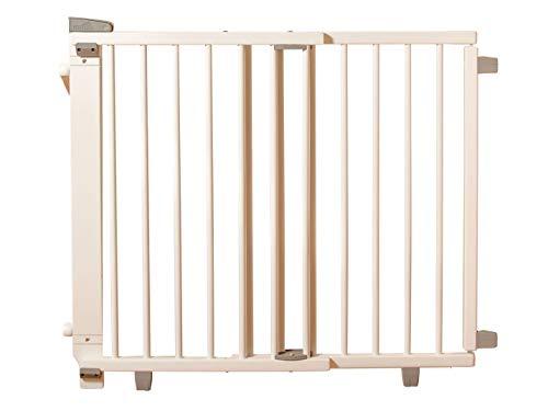 Geuther Treppenschutzgitter für Baby, Kinder und Hund, Absperrgitter für Treppe in Holz, weiß, 67 - 107 cm, Schutzgitter für Treppen zum klemmen und bohren, 2733+ WE