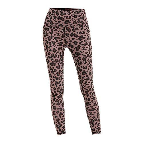 Lankfun Mallas de Deporte sin Costuras de Tiro Alto Mujer,Pantalones de Yoga Ajustados con Estampado de Leopardo de Cintura Alta elásticos-marrón_X-Large,Mujer Legging Mallas Pantalones De Compresión