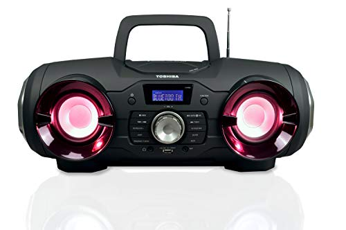 Toshiba Wireless Bluetooth Boombox Speaker: Portable CD Boom Box with FM Radio, Remote & LED Lights TY-CWU510