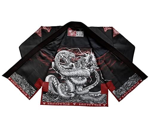Raven Fightwear BJJ Gi Thor Men's Bianco Nero Grigio Brasiliano Jiu Jitsu Kimono Uomo MMA Uniform Cotone Judo Grappling Arti Marziali Karate (Black, A0)