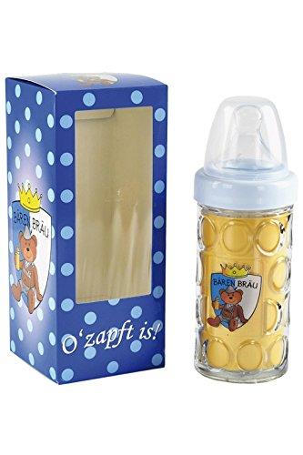 Paul der Bär Nuckelflasche, Nuckelkrug Bären Bräu in blau, Geschenkidee für Babys
