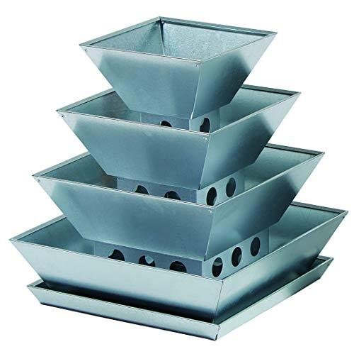 PYRA Pflanzenpyamide mit 4 Etagen, Verzinkter Stahl, für Balkon, Terrasse und Garten