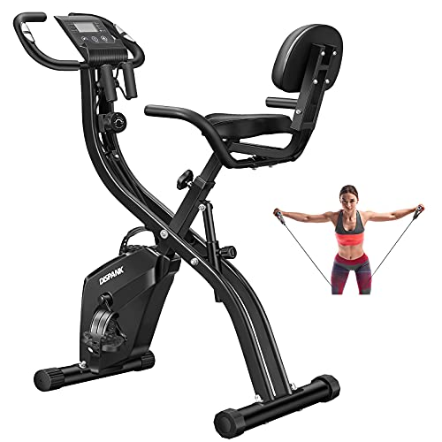 Folding Exercise Bikes DISPANK 3-in-1 Folding Indoor Recumbent Exercise Bikes, Lightweight Foldable Stationary Bike with Arm Resistance Band and Backrest, 10-Level Resistance for Men Women and Seniors