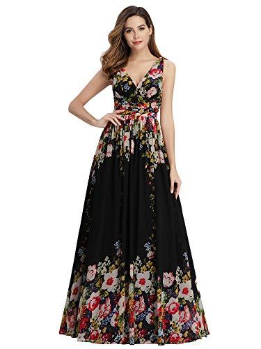 Ever-Pretty Vestito da Cerimonia Donna Linea ad A Stile Impero Chiffon Scollo a V Senza Maniche Nero e Stampato 54