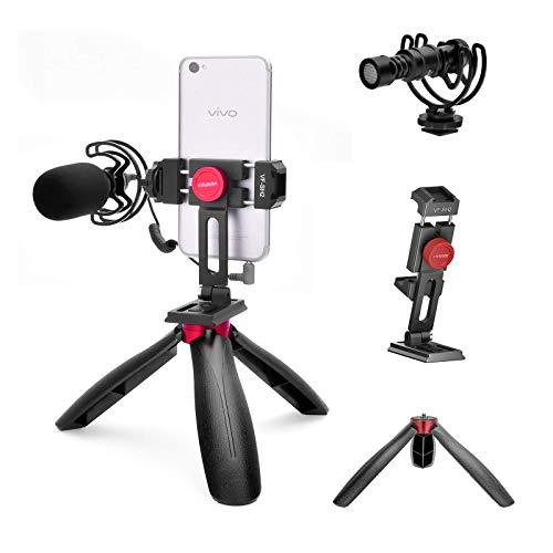 Kit de micrófono y Video Viewflex VF-K2 Cardioide Shotgun Mic Smartphone Kit con Abrazadera para teléfono y trípode para iPhone/Huawei/Samsung Android Phone, Vlogging Rig Kit para Youtube Live-Stream