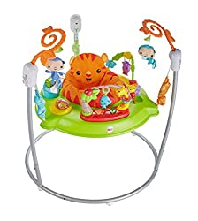 The Fisher-Price Jumperoo Rainforest has music, lights and sounds to reward and encourage every bounce and jump that baby makes Fisher-Price baby toy with a seat that spins 360 degrees so baby can discover all around them The Fisher-Price baby bounce...