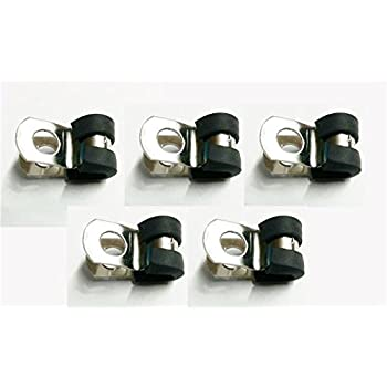 10x Marine Grade Stainless Steel Rubber-Lined P-Clip 8mm Hose Pipe Clamp M6 Hole
