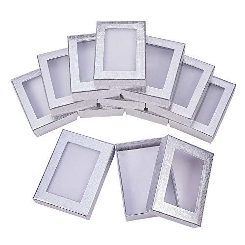 NBEADS 10Pcs Silber Geschenkboxen Präsentationsbox mit Polsterung - Geburtstagsgeschenkbox - Halskette Box Ohrring Box Ring Box Karton Schmuckkästchen 3,54