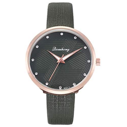 Uhr Armbanduhren Männer Damenuhren Hansee Damen Persönlichkeit Armbanduhr Geometrisches Muster Mit Leder Gürtel Uhren Wrist Watches(Grün)