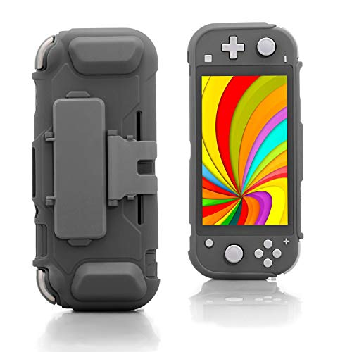 TPU Case for Nintendo Switch lite, Protective Case for Nintendo Switch lite with Game Card Storage and Kickstand - Gray
