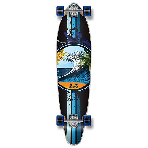 Yocaher Punk Graphic Kicktail komplett Longboard Skateboard, Wave