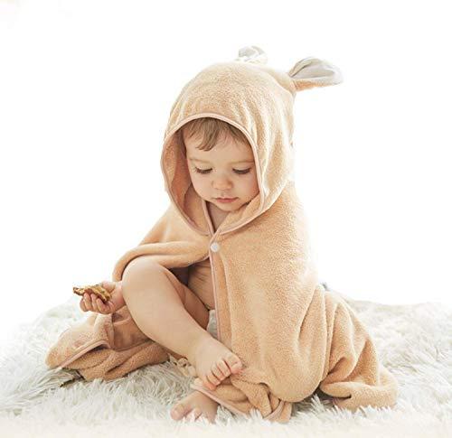 SLINXフード付きバスタオルこども用キッズバスローブバスポンチョおくるみマントバスローブサメうさぎ水泳水遊びプールお風呂上がり出産祝い(キャラメル,75*120)