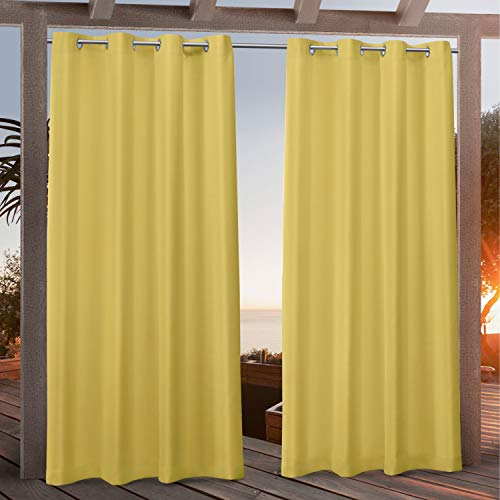 Exclusive Home Curtains Canvas Indoor/Outdoor Grommet Top Curtain Panel Pair, 54x108, Butter