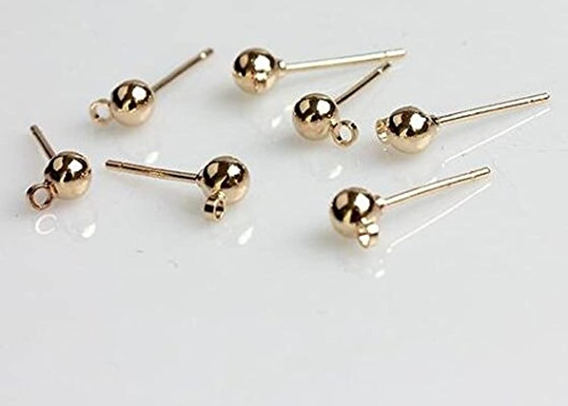 YOYOSTORE 100 Round Ball with Ring Iron Earrings Posts for Jewelry Earring Making Findings (Golden, 4mm)