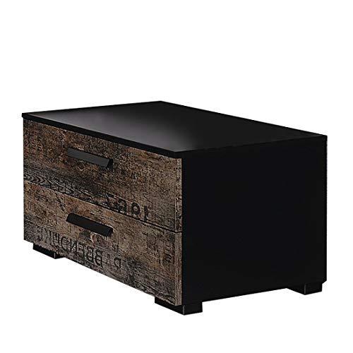 Rauch Nachttisch Sumatra mit 2 Schubladen | In Vintage Schwarz | 55 x 34 x 42 cm