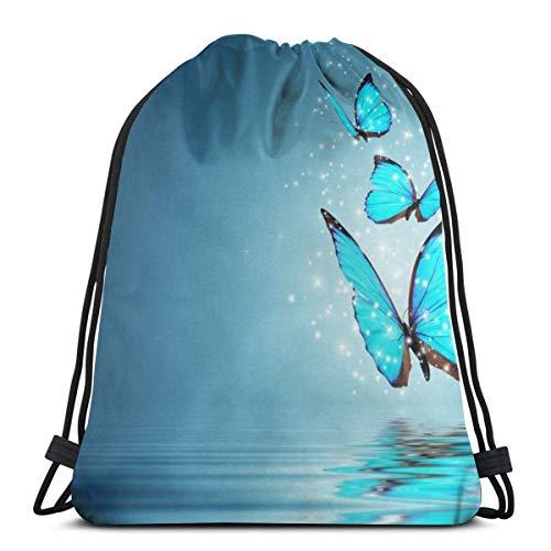 LREFON Borse da palestra con coulisse Zaino Butterfly Blue Sackpack Tote per viaggio Portaoggetti Scarpa Organizer Risparmio bottiglia d'acqua Studente
