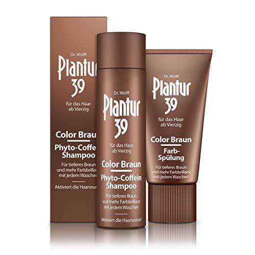 Plantur 39 Color Braun Phyto-Coffein-Shampoo, 250ml + Farb-Spülung, 150 ml - Für tieferes Braun, Gegen menopausalen Haarausfall