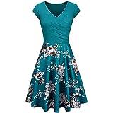 Primavera Y Verano Moda Casual para Mujer Cuello En V Color SóLido ImpresióN De Costura Cintura Alta Slim-Fit Y Vestido De Manga Corta De Gran Longitud Mujeres