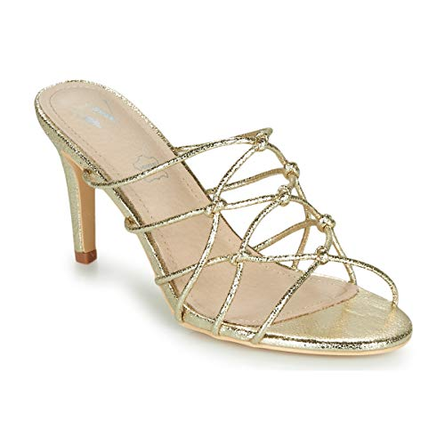 VANESSA WU MARTINE Slippers/Klompen dames Goud Leren slippers