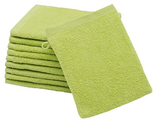 ZOLLNER 10er Set Waschlappen Baumwolle, 16x21 cm, grün (weitere verfügbar)