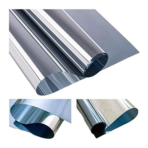 MUHOO Fensterfolie Sonnenschutz UV-Schutz Blickdicht Spiegelfolie Hitzeschutz Verdunkelungsfolie - Silber, 90 x 400 cm