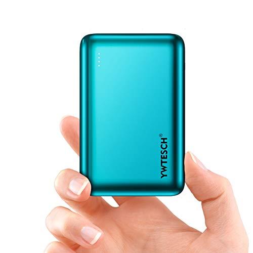YWTESCH Batería Externa Movil 20000mAh, Power Bank Cargador Portátil, 2 Salida USB-A y 1 Entrada Type-C (2A+2A), Aleación de Aluminio, Mini Powerbank(Verde) Compatible con iOS/Androide/Tableta