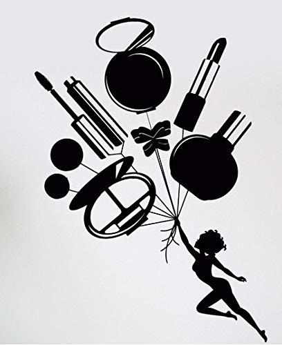 guijiumai Schönheitssalon Mädchen Kosmetik bilden Werkzeuge Lippenstift Parfüm Wandaufkleber Vinyl Wandtattoo Beauty Shop Zimmer 87X41CM