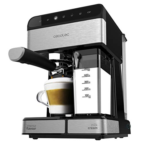 Cecotec Cafetera Semiautomatica Power Instant-ccino Touch Serie Nera. Presión 20 Bares, Capacidad de 1,4l, 6 Funciones, Calentador por Thermoblock, Control Táctil, Tanque de leche, 1350 W