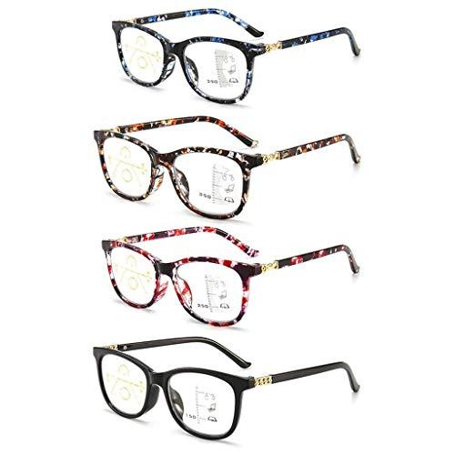 4 stuks leesbril, Progressieve multifocale lezer Zie Far And Near Reading Brillen Bifocaal Anti-blauw licht bril verstelbaar voor dames heren voor ouders cadeau,+ 1.5
