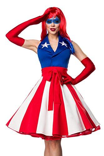 Fasching-Kostüm `Miss America` by MASK PARADISE - 'Stars and Stripes' - großzügiger Neckholder Schalkragen und applizierte Sternstickerei - Set: Kleid, Handschuhe - A80057, Größe:36;Farbe:rot