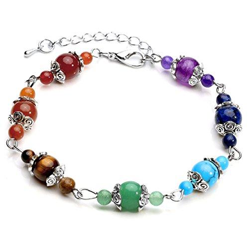 QGEM Pulsera de piedras preciosas de 7 chakras, terapia energética, yoga, equilibrio, para mujer, ajustable