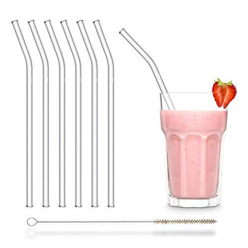 HALM Cannuccia - Cannucce in vetro riutilizzabili - Set di 6 cannucce curve da 23cm + 1 spazzola per la pulizia - Senza BPA - Lavabili in lavastoviglie - Ecosostenibili - Per cocktail e frullati.