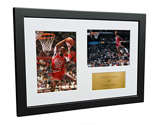 A4 Signed Michael Jordan Chicago Bulls'Famous Foul Line Dunk 1988' Autographed Basketball Photo Photograph Picture Frame Gift 12'x8'