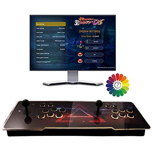 Pandora Box 3D 6 Botones Maquina recreativa Arcade Video, Multijugador Arcade Game Console, 2 Joystick Partes de la Fuente de alimentación HDMI y VGA y Salida USB
