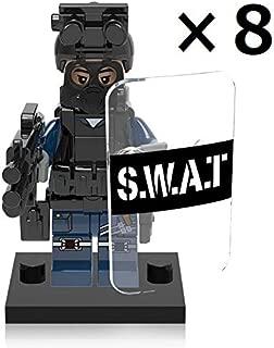 ミニフィグ SWAT スワット 8体セット ライオット シールド 盾 警察 ポリス ブラック ミニフィギュア