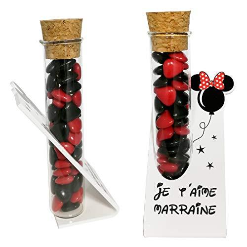Soliflore Je t'aime Marraine – Cadeau Baptême, Boite contenant à dragées – idéal pour une décoration de table thème Mickey Mouse minnie disney disneyland – existe en modèle marraine et souvenir
