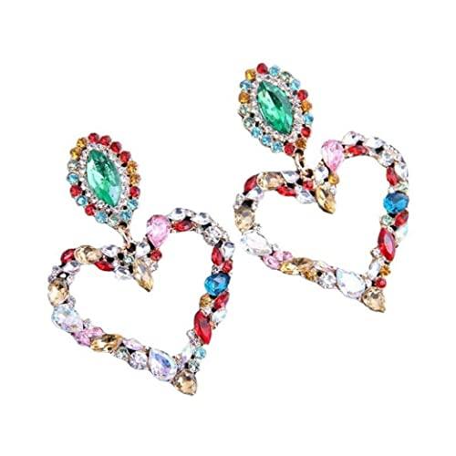 Orecchini del cristallo del cuore del cuore degli orecchini del rhinestone barocco del rhinestone barocpe per le donne 1pair colorato