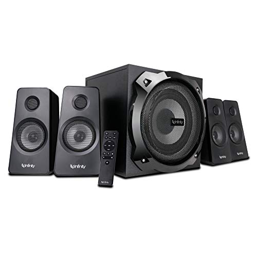 Infinity (JBL) Hardrock 410, 200W Output, 4.1 Channel Multimedia Speaker with Remote, LED Illuminated Subwoofer for Deep Bass, Eco Mode, Bluetooth, USB & AUX connectivity (Black)