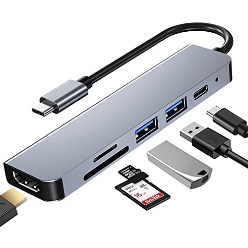 Estación de acoplamiento, concentrador USB C de 6 puertos, adaptador USB C 4K-HDMI, tipo C PD, 2 puertos USB, lector de tarjetas SD/TF, adecuado para MacBook Pro/Air y más dispositivos Multi-C