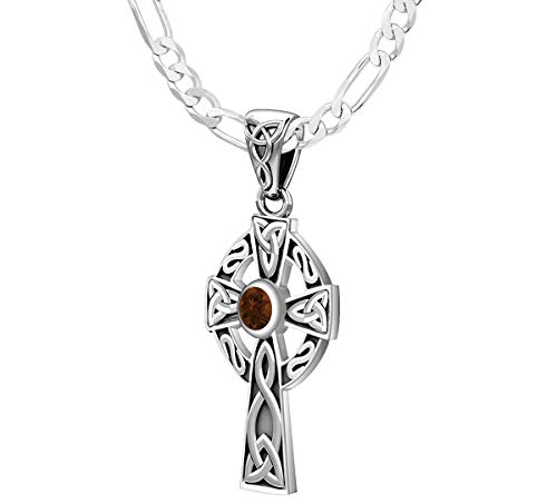 US Jewels Ladies Small 925 Sterling Silver 23mm Celtic Knot Cross Genuine Garnet January Birthstone 1.8mm Figaro Pendant Necklace, 18in