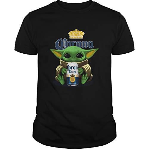 Klonja1107a1 PA - Camisa Negro Baby Yoda Hug Corona - Camiseta extra S