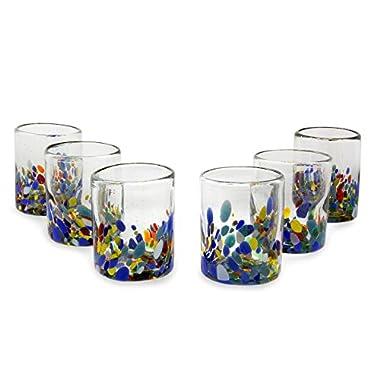 NOVICA Hand Blown Multicolor Recycled Glass Tumbler Glasses, 10 oz. 'Confetti Festival' (set of 6)