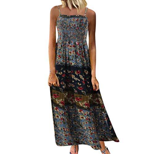TUSANG Women Skirt Vintage Bohemian Print Floral Sleeveless O-Neck Straps Maxi Dress Slim Fit Comfy Tunic(B-Blue,US-6/CN-M)