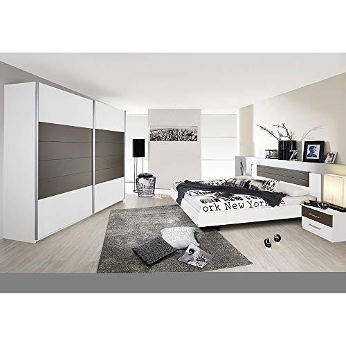 Rauch Möbel Barcelona Schlafzimmer, Weiß / Lavagrau, bestehend aus Bett mit Liegefläche 160x200 cm inklusive 2 Nachttische und Schwebetürenschrank BxHxT 226x210x62 cm