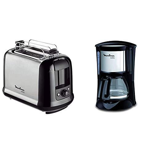 Moulinex LT2618 Toaster Subito, edelstahl/schwarz & FG1508 Kaffeemaschine Subito Mini | Anti-Tropf-System | Bis zu 6 Tassen | Einfache Reinigung | Edelstahl Matt
